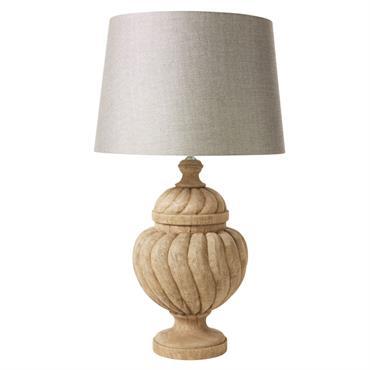 Lampe en manguier sculpté et abat-jour gris anthracite