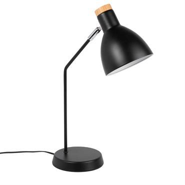 Lampe en métal noir et pin