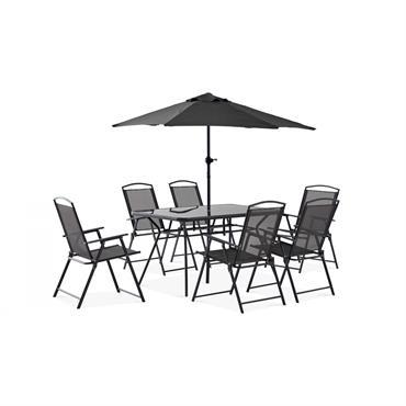 Salon de jardin ultra fonctionnel et pratique. Ce salon de jardin inclut une table, 6 chaises de jardin pliantes et un parasol droit.Les chaises de ce salon de jardin se ...