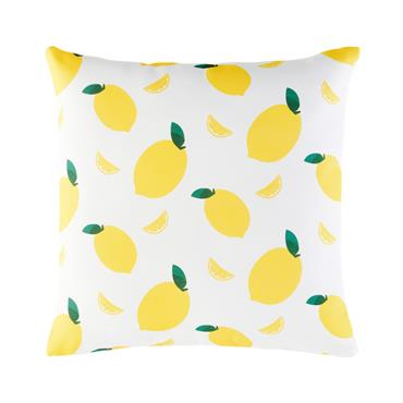 Coussin d'extérieur blanc imprimé citrons jaunes 45x45