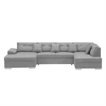 Canapé d'angle droit panoramique convertible en tissu gris clair