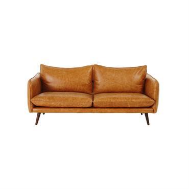 Canapé vintage 2 places en cuir camel Morgan