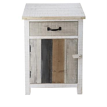 Table de chevet 1 porte 1 tiroir en sapin blanchi Noirmoutier
