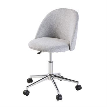 Chaise de bureau vintage à roulettes grise Mauricette
