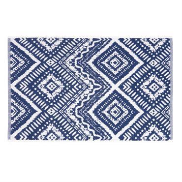 Tapis de bain en coton bleu motifs graphiques 50x80