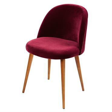 Chaise vintage en velours bordeaux et bouleau Mauricette