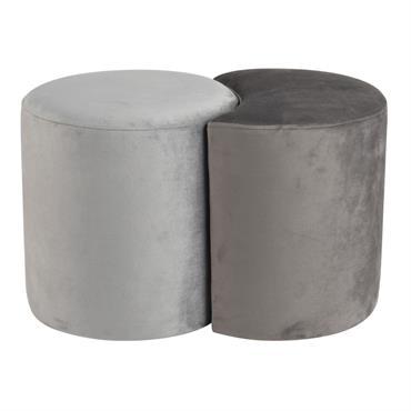 Poufs en velours gris