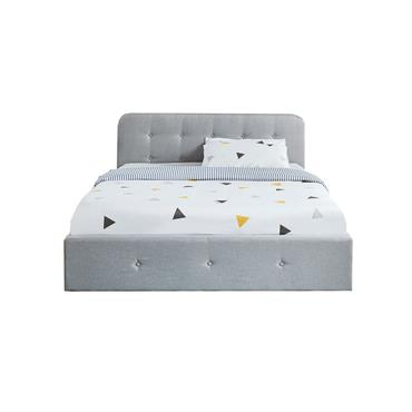 Lit coffre KATE sommier à lattes et tête de lit 140x190 gris clair