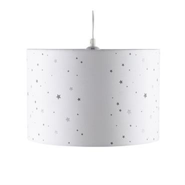 Abat-jour pour suspension blanc à imprimé étoiles