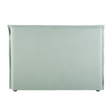 Housse de tête de lit 160 en lin lavé vert jade