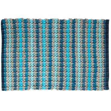 Tapis en coton bleu turquoise motifs à rayures bleues 60x90