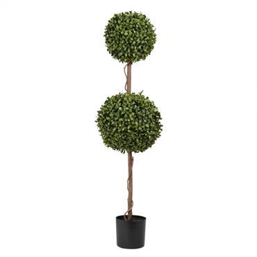 Buisson double artificiel et pot noir