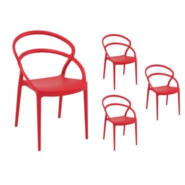 Lot de 4 chaises rouges intérieur/extérieur