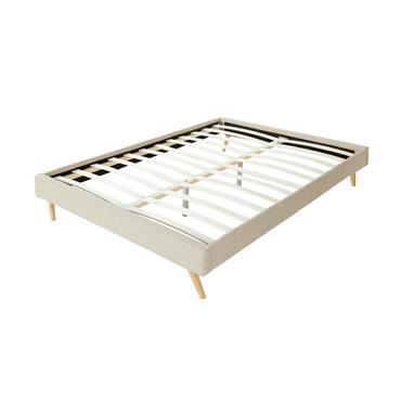 Cadre de lit scandinave en tissu beige 140x190