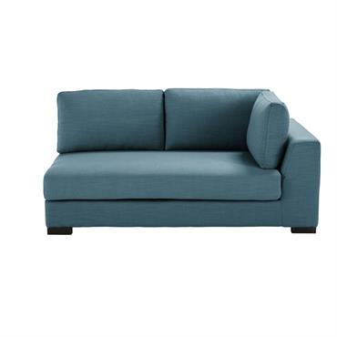 Accoudoir droit de canapé 2 places bleu pétrole Terence