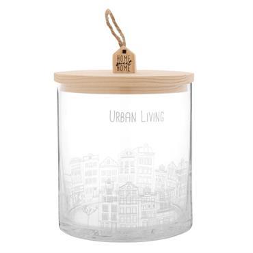 Boîte ronde en verre imprimé maisons