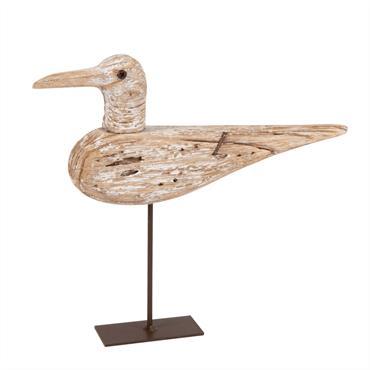 Statuette oiseau en paulownia socle en métal noir H20