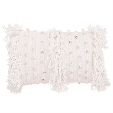 Housse de coussin en coton blanc à franges 30x50
