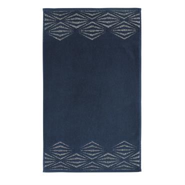 Tapis de bain en coton bleu nuit motifs argentés 50x80