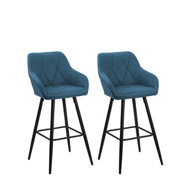 Lot de 2 chaises de bar bleues