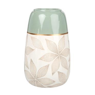Vase en céramique écrue et vert amande motif floral gravé H22