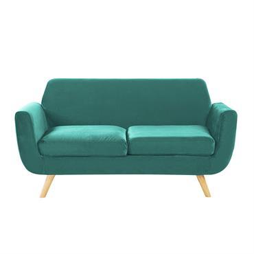 Canapé 2 places en velours vert housse amovible