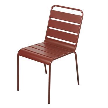 Chaise de jardin en métal terracotta Batignolles