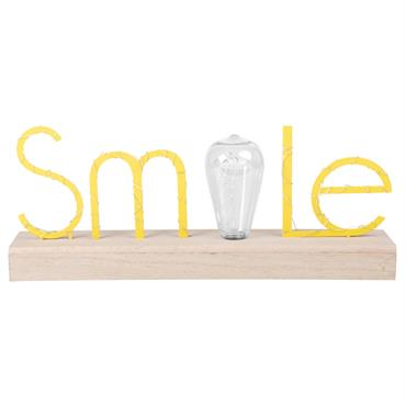 Mot smile lumineux en métal