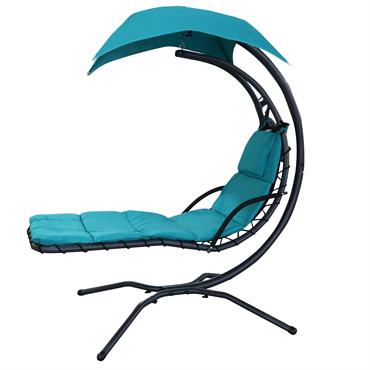 Transat suspendu design pare-soleil et matelas inclus turquoise