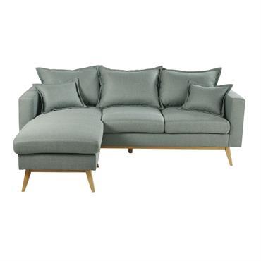 Canapé d'angle style scandinave 4/5 places vert d'eau