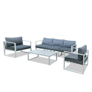 Notre nouveau salon de jardin VINCENNES, à la fois confortable et moderne, convient parfaitement aux espaces extérieurs et intérieurs. Il peut accueillir jusqu'à 5 convives. Il est composé d'un canapé ...
