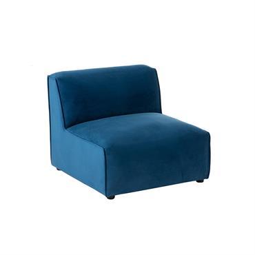 Fauteuil pour canapé modulable en tissu bleu