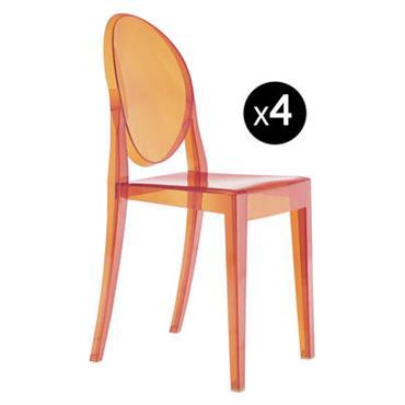 Chaise empilable Victoria Ghost / Lot de 4 - Kartell Orange