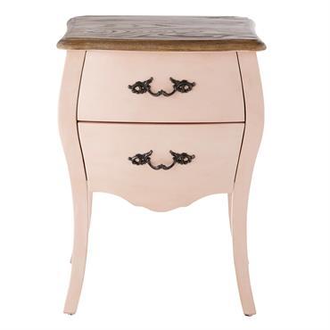 Table de chevet 2 tiroirs rose clair Haute couture