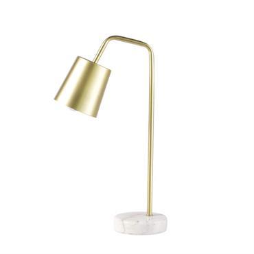 Lampe de bureau en métal doré et marbre blanc