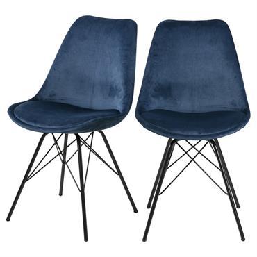 Lot de 2 chaises salle à manger pieds en métal bleu marine