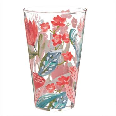 Chope en verre imprimé floral multicolore