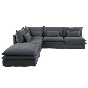 Chauffeuse de canapé 2 places en lin gris anthracite Pompei