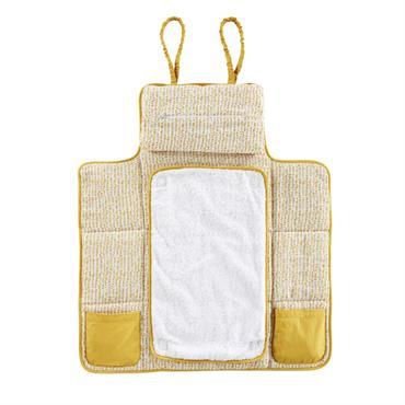 Matelas à langer de voyage en coton blanc et jaune moutarde imprimé