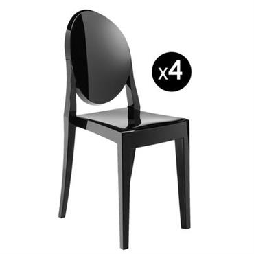 Chaise empilable Victoria Ghost / Lot de 4 - Kartell noir opaque