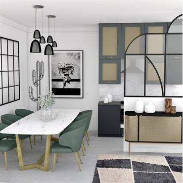 Un espace optimisé qui présente un accès direct entre la salle à manger et la cuisine. Une ambiance contemporaine mêlée ... Domozoom