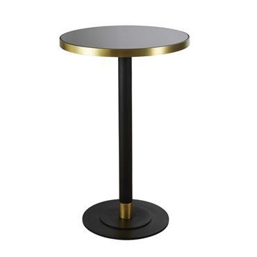 Table à manger haute ronde en verre trempé noir 1/2 personnes D70 Gizea