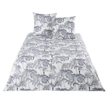 Parure de lit en coton beige imprimé palmiers gris anthracite 240x260