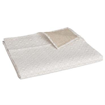 Nappe enduite imprimée blanche et beige 140x250 MILWAUKEE