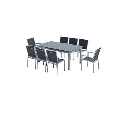 Table de jardin extensible et 8 chaises alu/textilène gris
