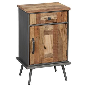 LEONARD - Table de chevet en bois massif et métal gris