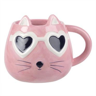 Mug en faïence chat à lunettes roses