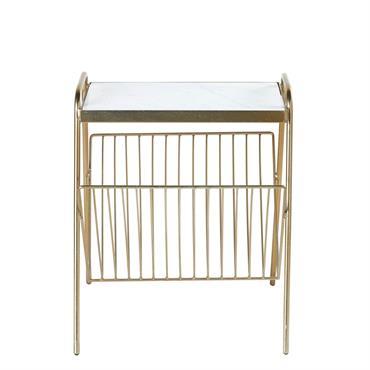 Vous allez adorer le bout de canapé porte-revues en métal doré et marbre blanc ALESSIA . On remarque de suite ses lignes épurées mixant entre style contemporain et design vintage. ...