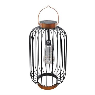 Lanterne solaire cage métallique acier noir H41cm