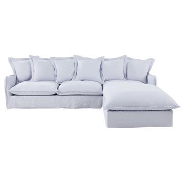 Spacieux et confortable, le canapé d'angle droit 6 places en lin lavé gris nuage BARCELONE est prêt à endosser le rôle principal dans votre salon ! Son revêtement en lin ...